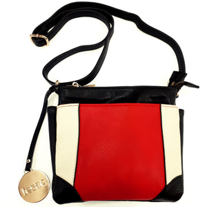 Crossbody bag 2 toned | Red and Brown | 5 Compartments