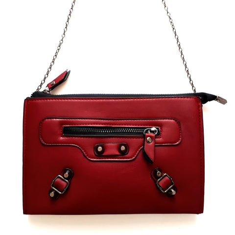 Shoulder Bag with chain strap | 3 Colors | Black, Red, Navy |
