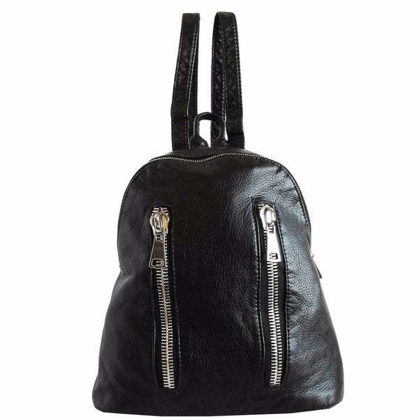 black backpack purse with silver zippers