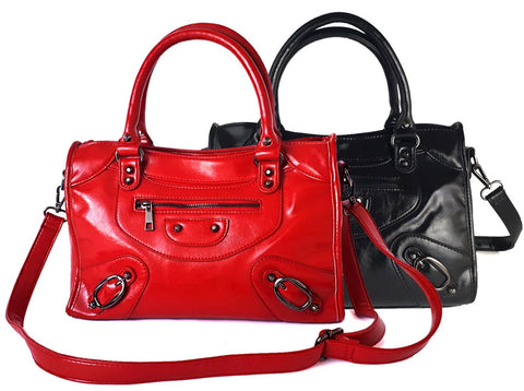 Lizbeth Satchel Purse for Wowen | Red and Black | Faux Leather