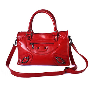 faux leather satchel tote red