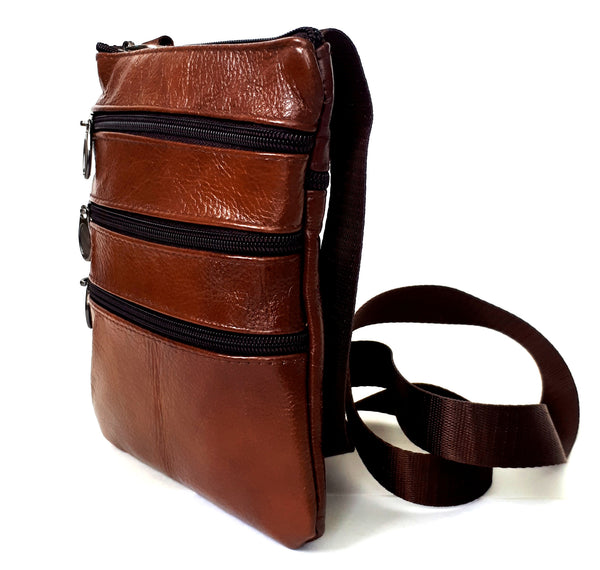 Leather Crossbody bag | 3 Zippered pockets | Julian