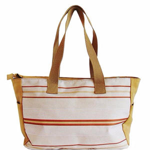 Large Striped Canvas bag | Beige and Navy |