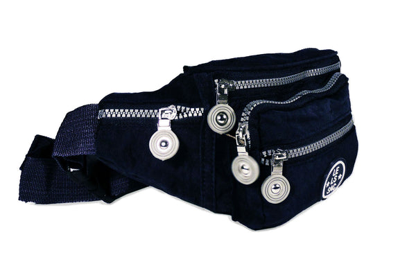 Nylon Fanny Pack | Black and Navy | 6 pockets | Madison