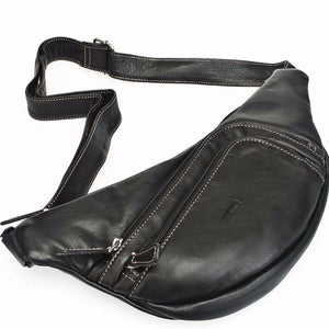 Italian Leather Fanny Pack | Brown and Black | Natacha