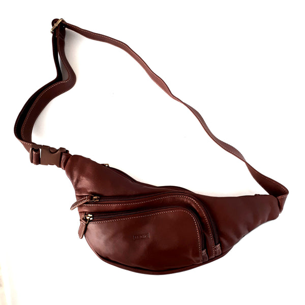 Italian Leather Fanny Pack Waist Belt | Brown and Black | Natacha