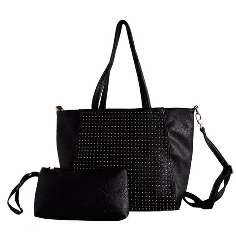 faux leather tote bag with zipper