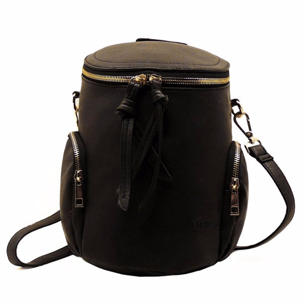 Drum Backpack | Black and Camel | Chelsea
