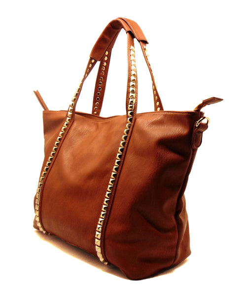 Large Tote Purse |  Cosmetic Bag | Red, Brown, Beige