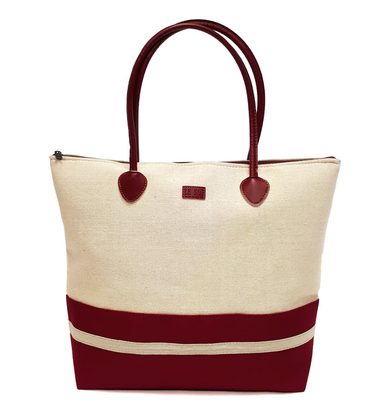 canvas beach bag with zipper and beach tote for women in red