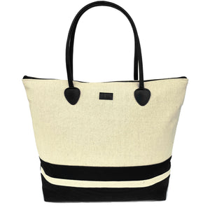 canvas beach bag with zipper and beach tote for women in black