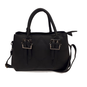 Black Satchel | 2 Zippered Compartment