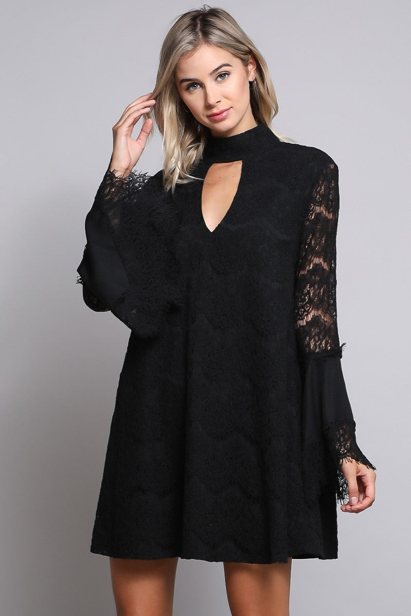 4fe205e62bf Black Lace Choker Dress with Bell Sleeves and Keyhole button detail
