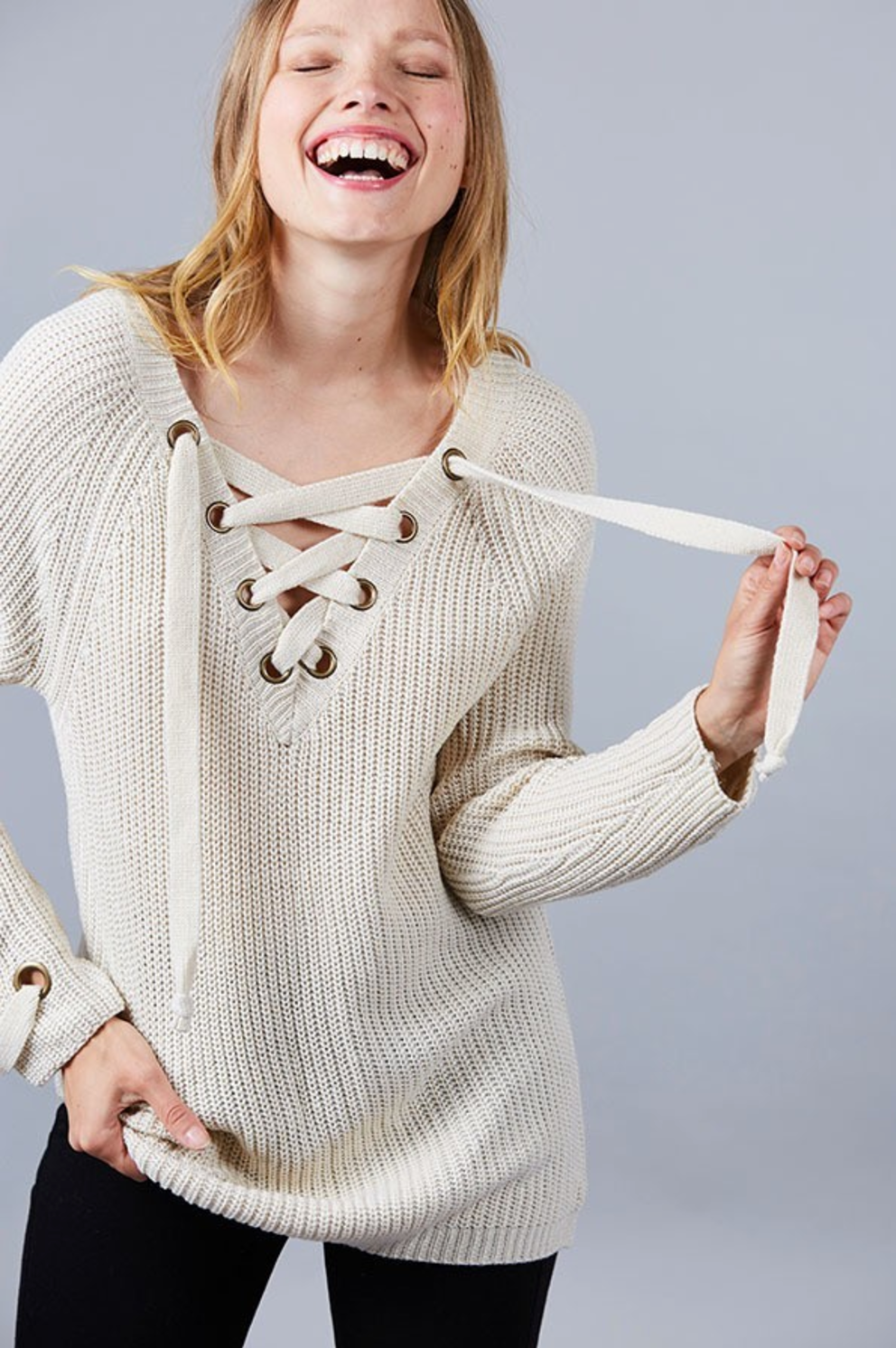 c4032c4a95 Cream Chunky Knit Sweater with V-neck Ties