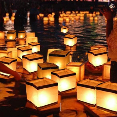 10pcs Paper square wishing lamp floating water wishing lanterns with candle for birtyday wedding party decoration - Sarahs Collection