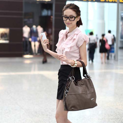 Women Versatile Handbag Soft Offer  PU Leather bags Zipper messenger bag/ Splice grafting Vintage Shoulder Cross-body Bags - Sarahs Collection