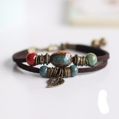 Handmade Ceramic Jewelry Women Hot-selling Fashion Bracelets  Leather Chain - Sarahs Collection