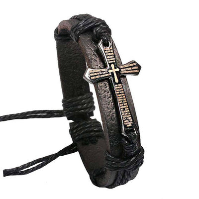 Handmade Braid Genuine Leather bracelet Wrap Charm Cross Bracelets  Fine Jewelry - Sarahs Collection