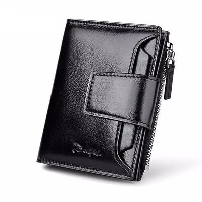 Genuine Leather Men Wallets Short Coin Purse Small Vintage Wallet Cowhide Leather Card Holder Pocket Purse Men Wallets - Sarahs Collection