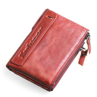 100% Genuine Leather Men Wallet Small Zipper Men Walet Portomonee Male Short Coin Purse Brand Perse Carteira For Rfid - Sarahs Collection
