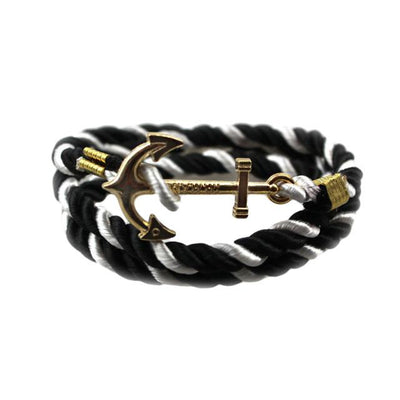 Handmade Gold Color Anchors Shaped with Rope String Friendship Charms Bracelet - Sarahs Collection