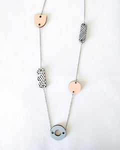Horisontti Necklace Peach/Light Blue