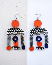 Horisontti Earrings Red/Dark Blue