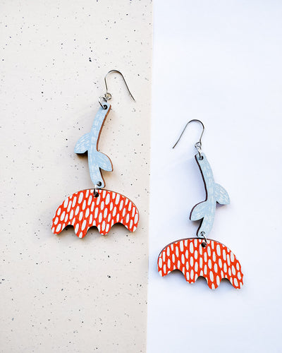 Vuokko Earrings Red/light blue