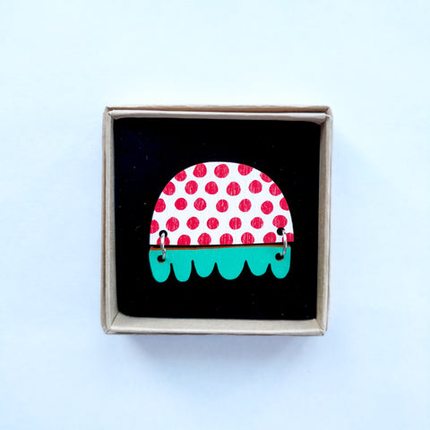 Kissankello Brooch red/turquoise