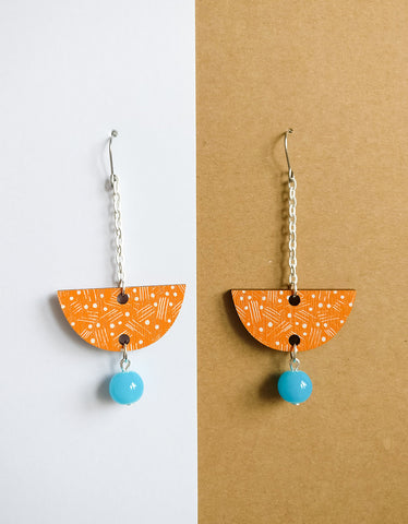 Vene Earrings White/Orange/Turquoise