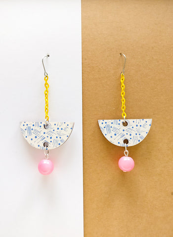 Vene Earrings Yellow/white/pink