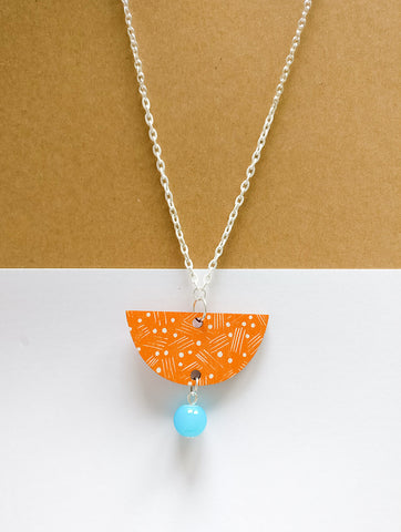 Vene Necklace White/Orange/Turquoise