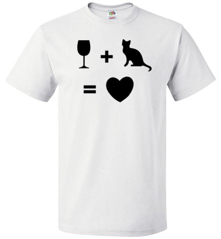 Wine Plus Cat Equals Love - Tail Threads