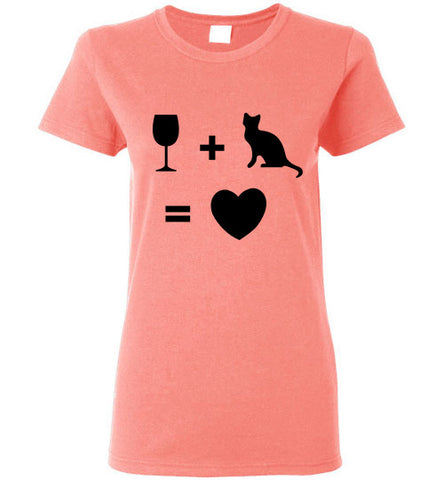Wine Plus Cat Equals Love - Ladies Cut - Tail Threads