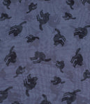 This is a grey chiffon pinup style hair scarf that has hunched black cats on it.