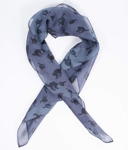 This is a grey chiffon pinup style hair scarf that has black cats on it.