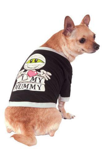 I Love My Mummy Pet T-shirt-Pet Costume-1-Classic Horror Shop