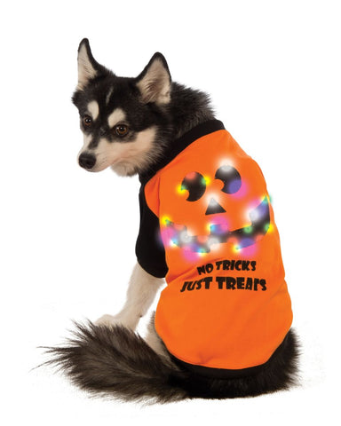No Tricks Just Treats LED Pet T-shirt-Pet Costume-1-Classic Horror Shop