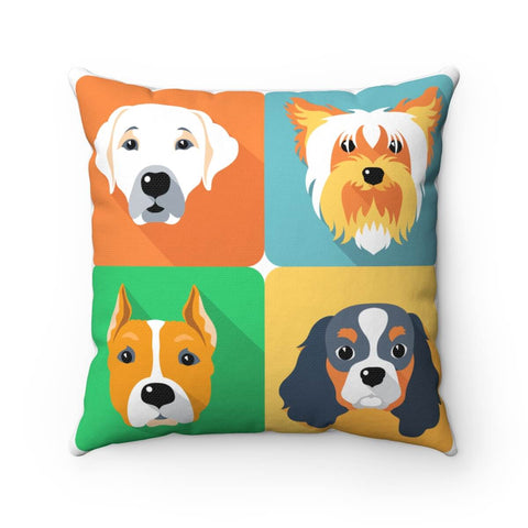 Illustrated Dogs Pillow