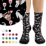 Custom Socks - Wine, Cats & Hearts