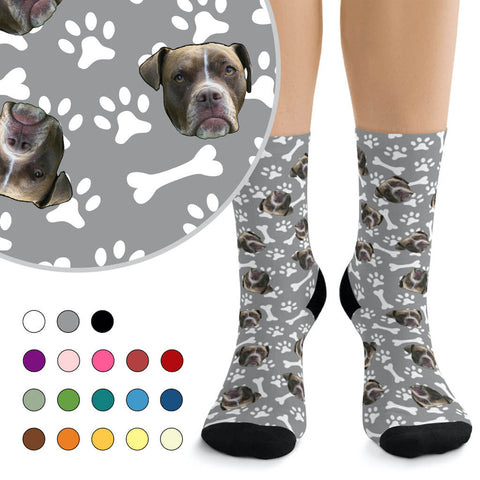 Custom Dog Photo Socks - Paws & Bones