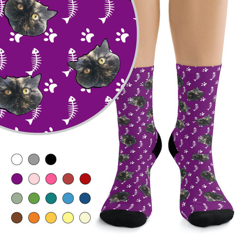 Custom Cat Photo Socks - Paws & Fish Bones