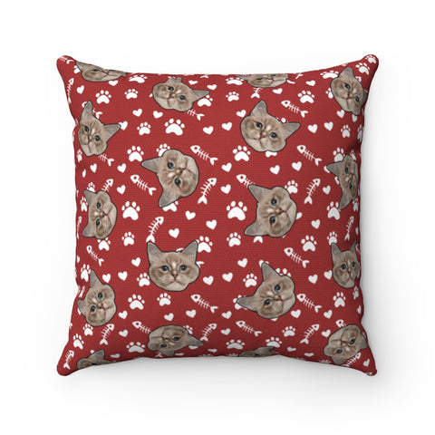Custom Pillow With Your Cats Face Printed On It - Paws & Fish Bones
