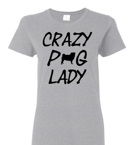 Crazy Pug Lady - Ladies Cut - Tail Threads
