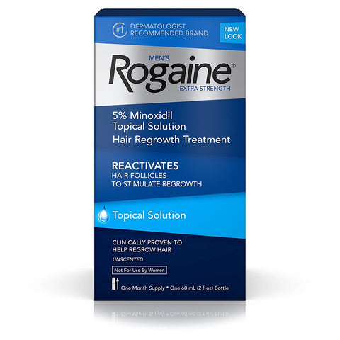 1 Month Supply Rogaine Extra Strength Topical Solution 5% Minoxidil Hair Loss