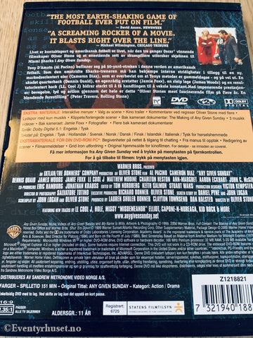 Any Given Sunday. 1999. Dvd Snapcase.