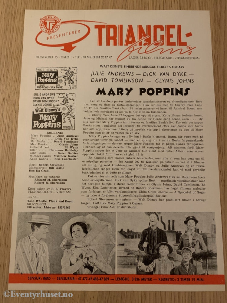 Disney Vaskeseddel/brosjyre. Triangel Film Sensurnr. 47477-47483-47839. Mary Poppins.