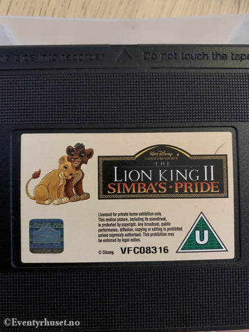 Disney Vhs. The Lion King 2 - Simbas Pride. Norsksolgt Vhs