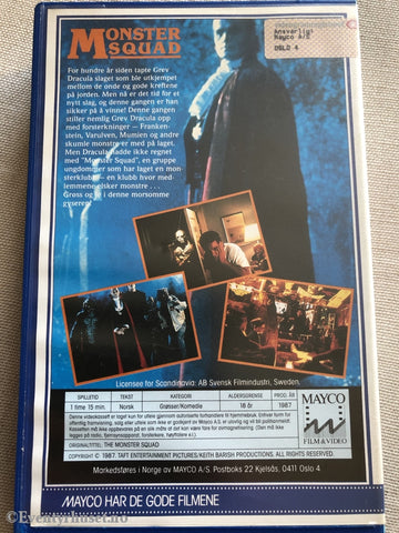 Monster Squad. 1987. Vhs Big Box.