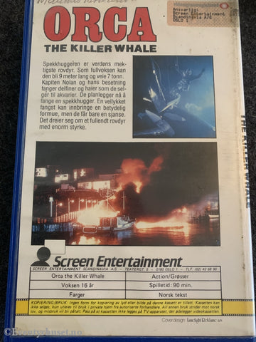 Orca - The Killer Whale. 1977. Vhs Big Box.
